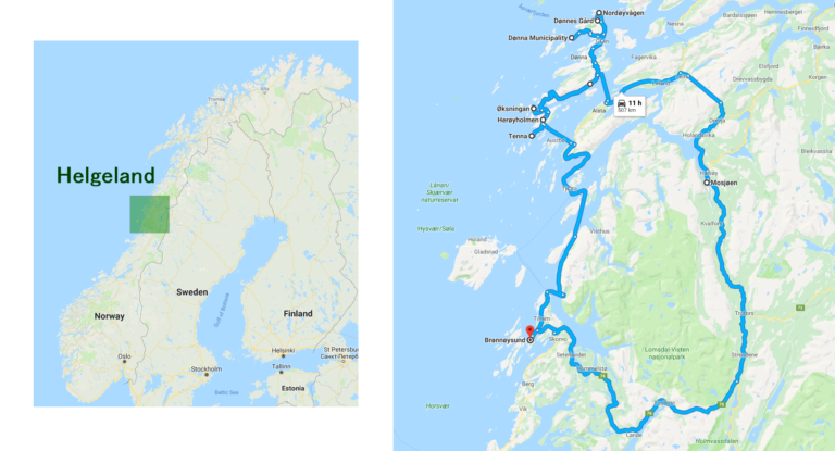 Roughly the route we followed on a short road trip, beginning and ending in Brønnøysund, Norway.