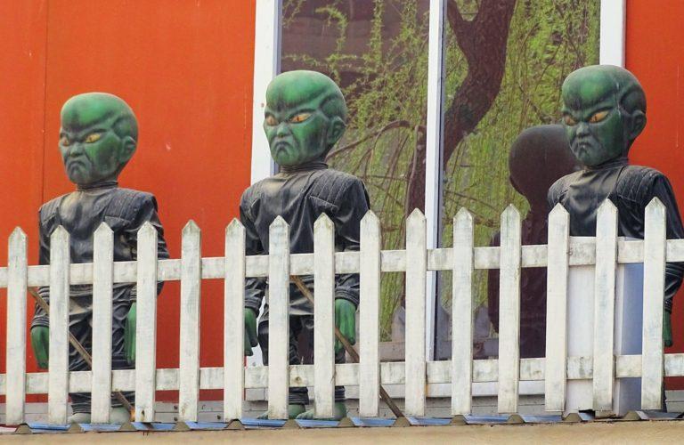 Angry aliens at Beijing Shijingshan Amusement Park