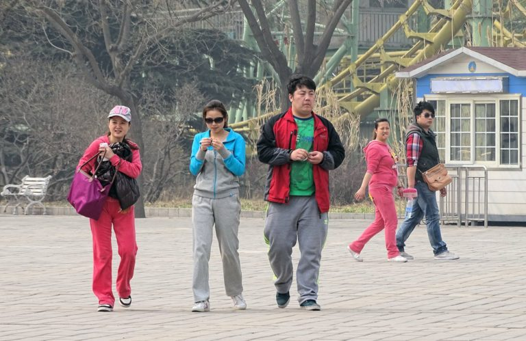 Real Chinese people at Beijing Shijingshan Amusement Park