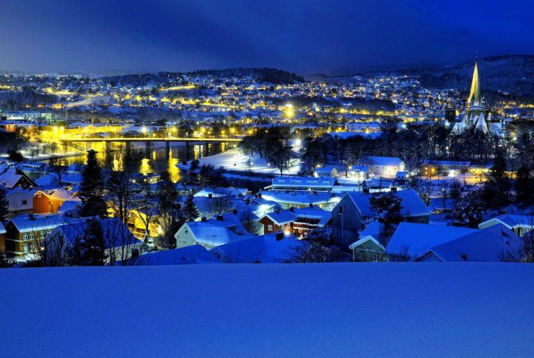 View of Nidelven, Elgesæter Bru and Nidarosdomen in Trondheim, Norway.