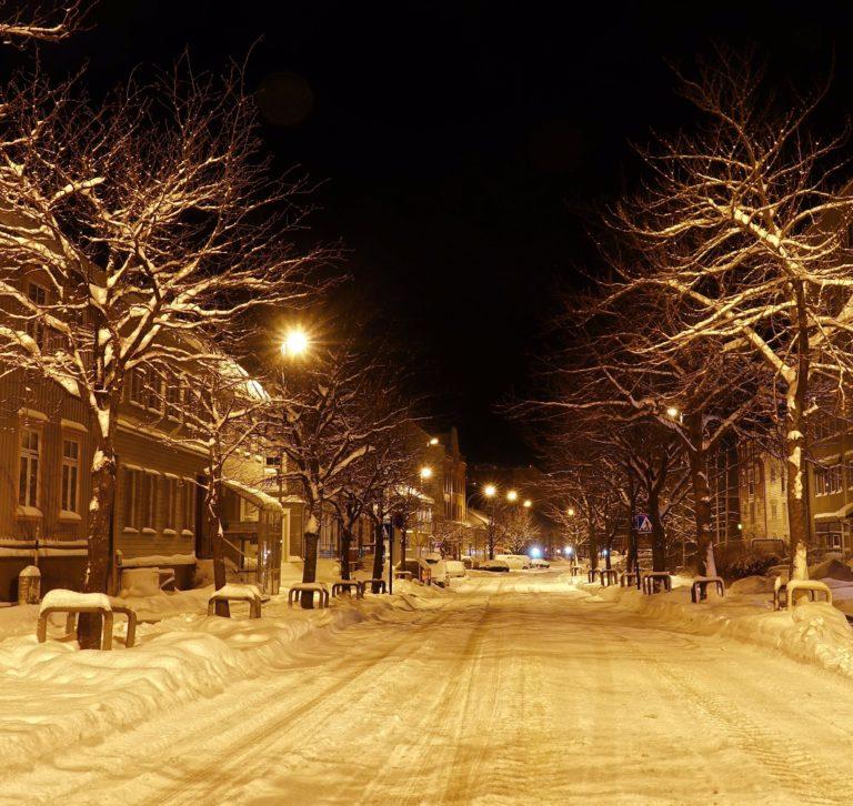 Sandgata in January in Trondheim, Norway.