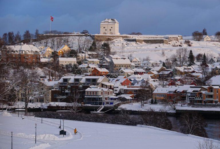 Kristiansten Festning/Fortress seen from Elgeseter Bridge.