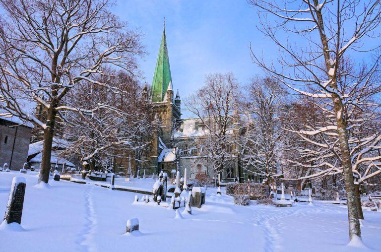 Marinen public park in Trondheim, Norway, covered in snow.