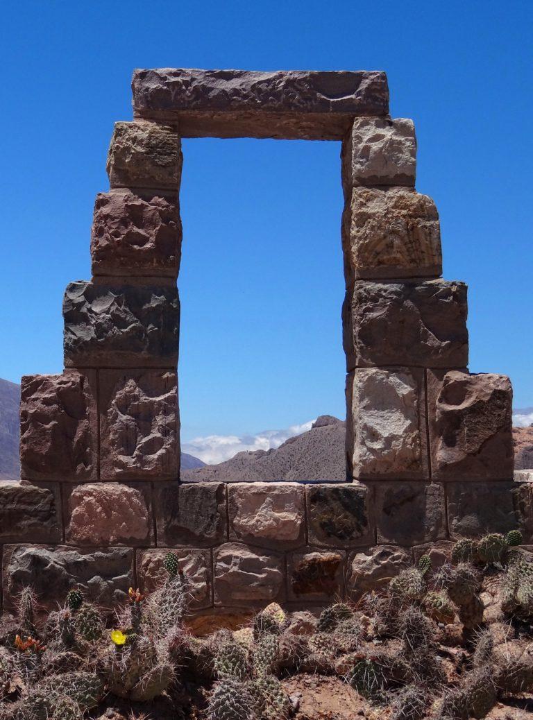 Stone window at the Pucará de Tilcara in Argentina.