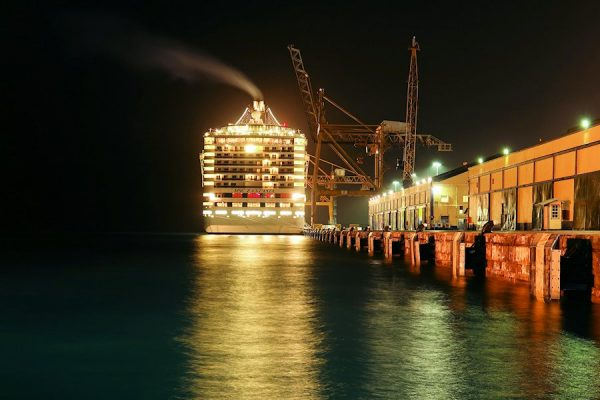 Cruise ship in port after sunset on Barbados