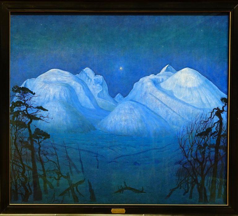 Winter night in the mountains/Vinternatt i Rondane, by Harald Sohlberg.