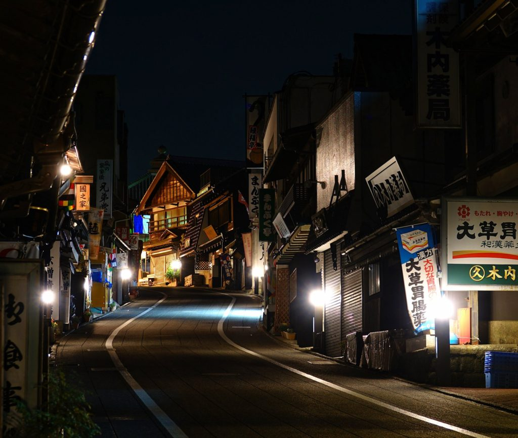 Night in the main street through Narita town.