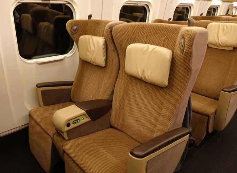 Comfortable seats in first class on Japanese bullet train.