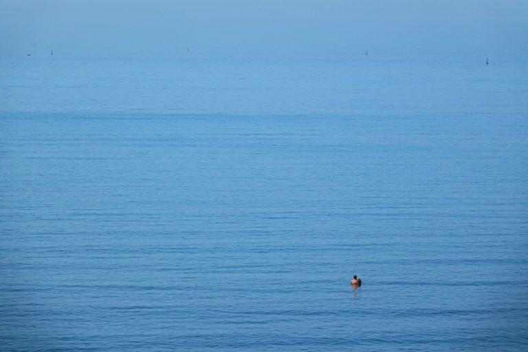 Blue ocean in Durrës, Albania.