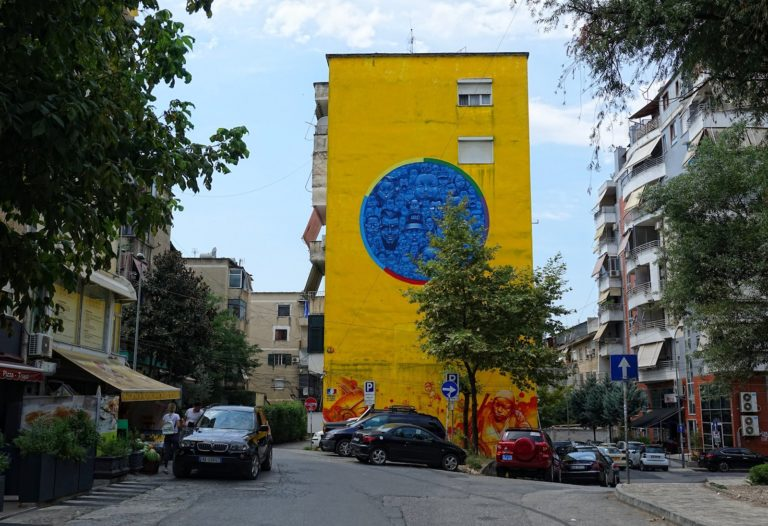 Colourful graffiti on an apartment building in Tirana, Albania.