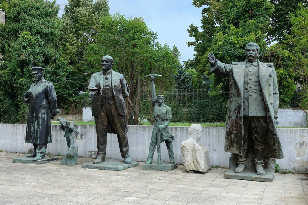 Communist era statues in Tirana, Albania.