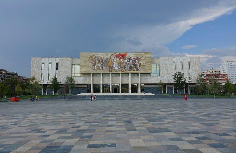 Skanderbeg Square in Tirana, Albania.