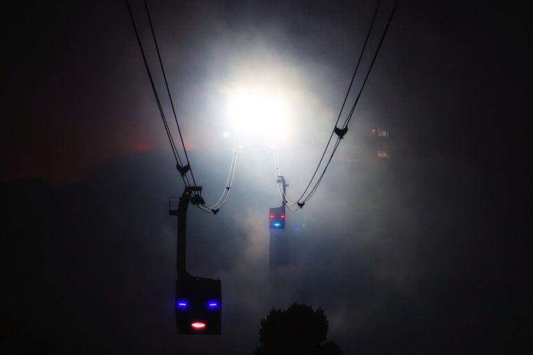 Alien robots coming down from Mount Hakodate on the ropeway.