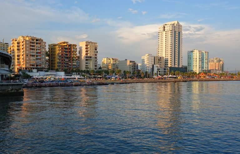 The waterfront promenade in Durrës, Albania.
