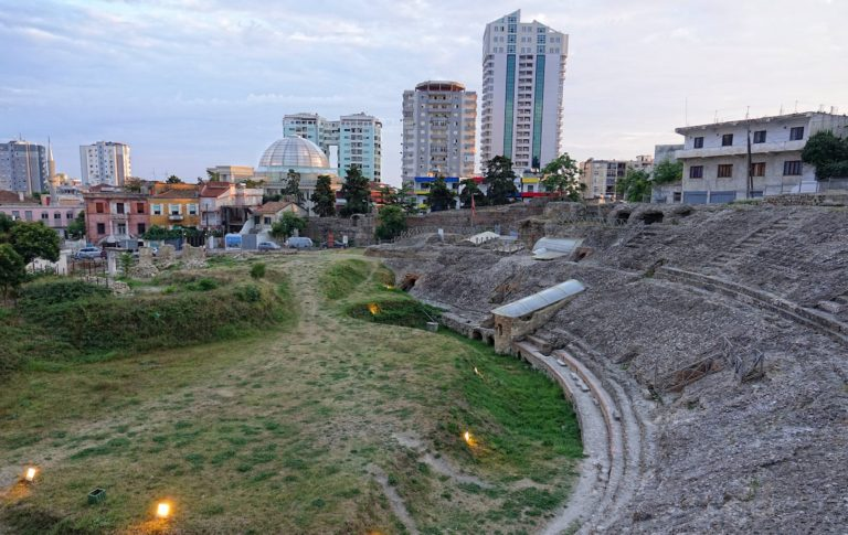The old Roman amphitheatre in Durrës, Albania.
