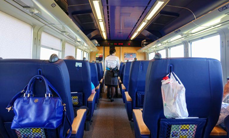 Blue first class train car on Hokkaido island.