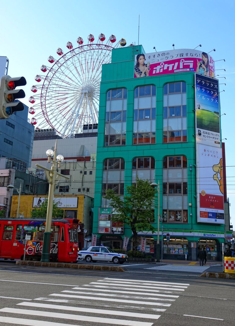 A Ferris wheel on top of a shopping centre in Sapporo, Japan.