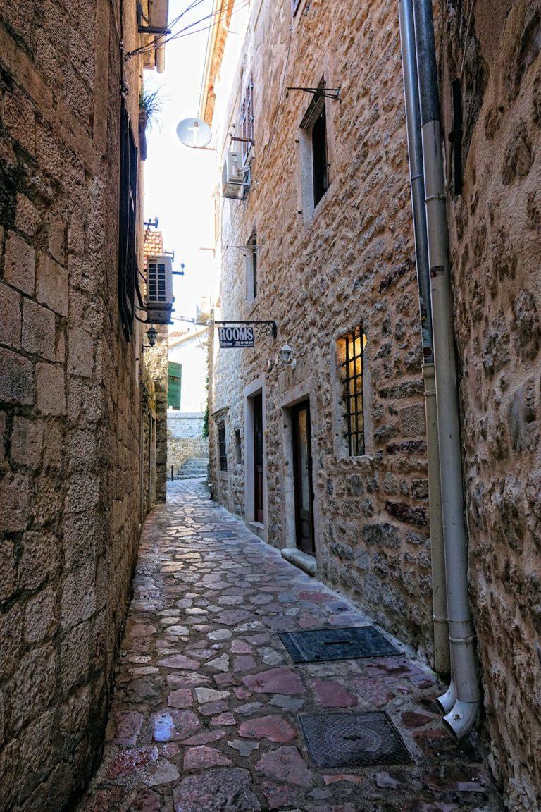 Narrow street in Kotor, Montenegro.