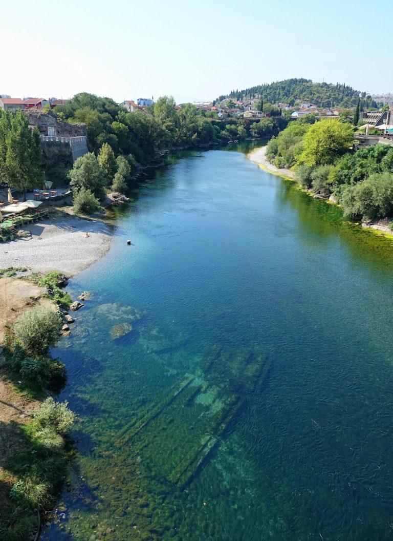 River through Podgorica, Montenegro.