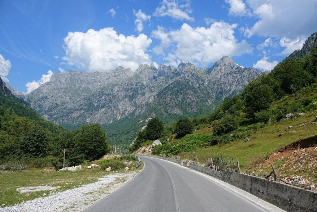 The road leading into Valbonë Valley National Park.