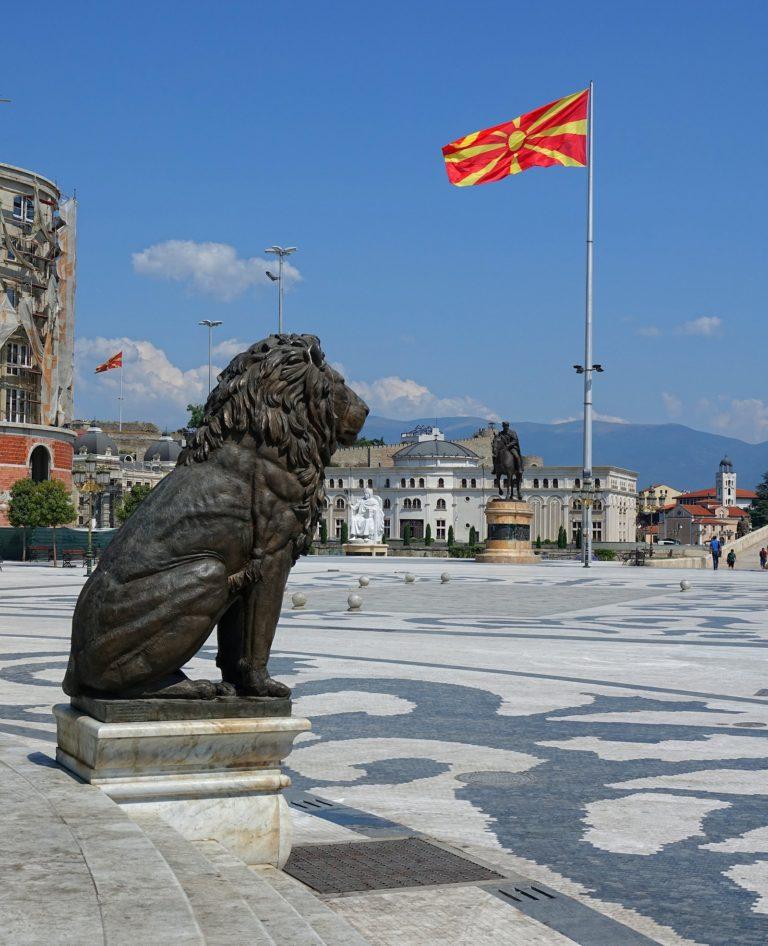 Lion of Macedonia on Macedonia Square, Skopje.