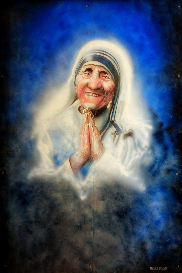 Mother Teresa street portrait in Skopje, Macedonia.