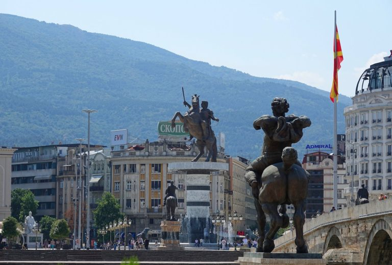 Multiple equestrian statues in Skopje, Macedonia, including the big statue of Alexander the Great.