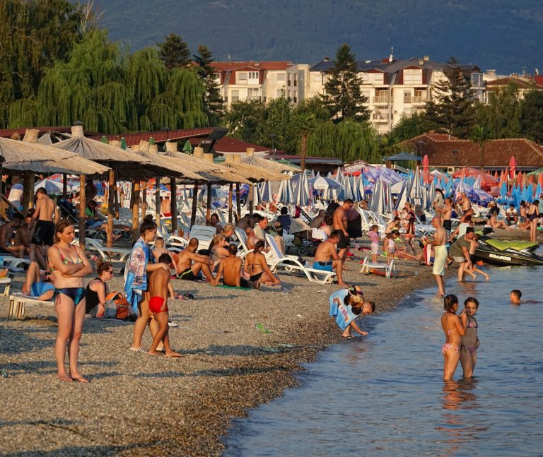 Holiday-goers on the beach in Struga, Macedonia.