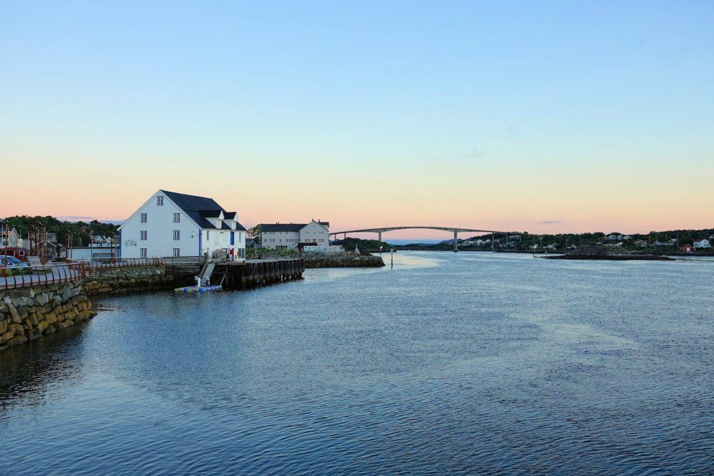 From the centre of Brønnøysund around midnight in early July.