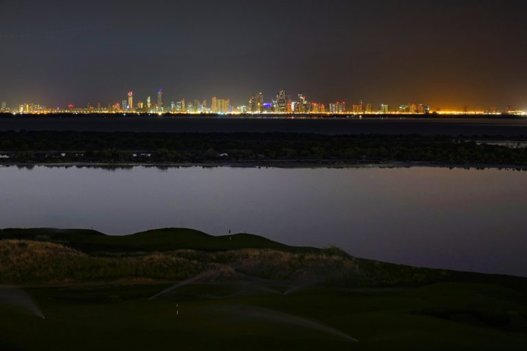 The Abu Dhabi skyline seen from Yas Island.