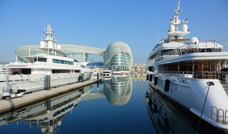 Luxury yachts docked at the Yas Island Marina.