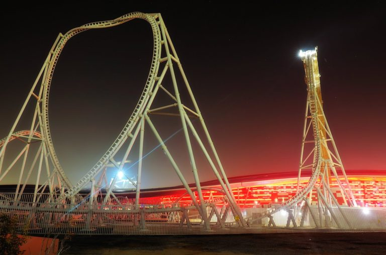 Ferrari World Abu Dhabi at night.