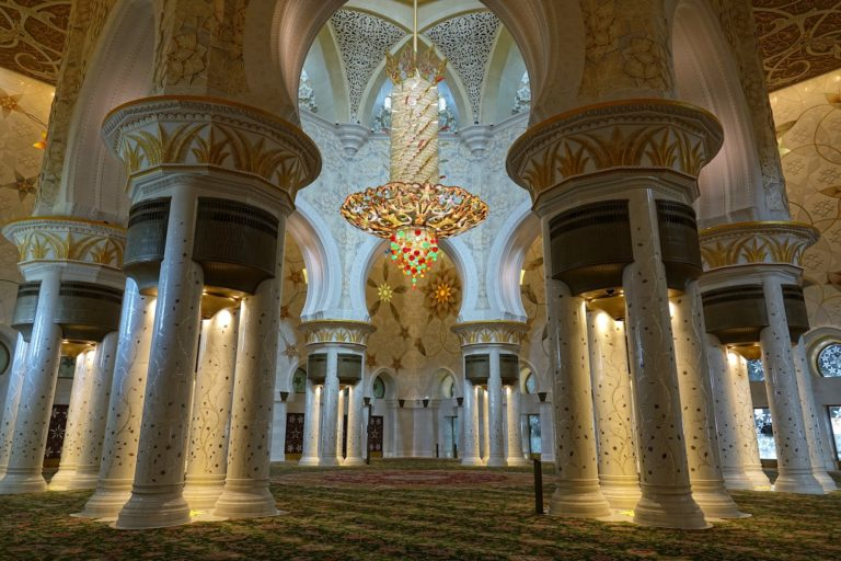 Giant chandelier inside the Sheikh Zayed Mosque in Abu Dhabi.