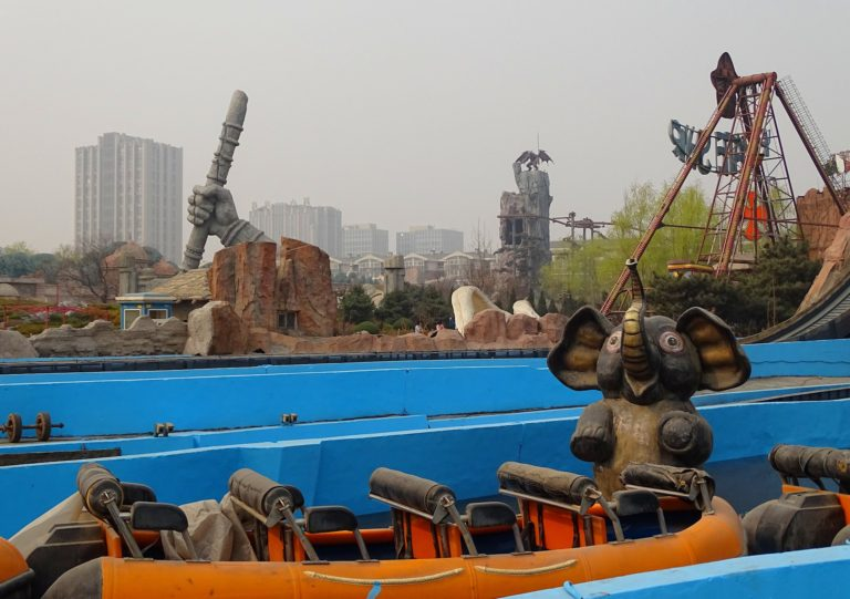 Elephant in the smog at Beijing Shijingshan Amusement Park