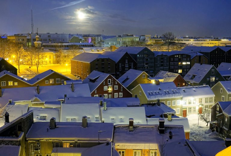 View over wooden houses in Bakklandet, Trondheim, Norway.
