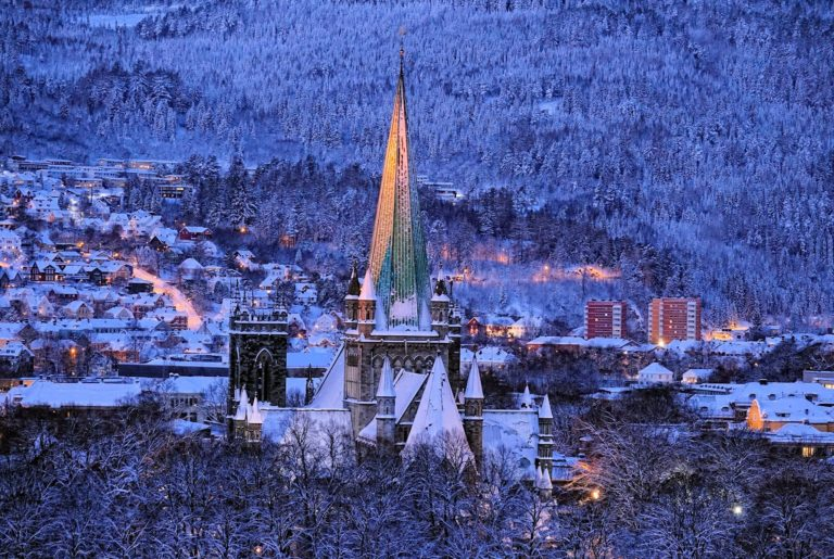 Nidaros Cathedral main spire rising up above Trondheim, Norway.