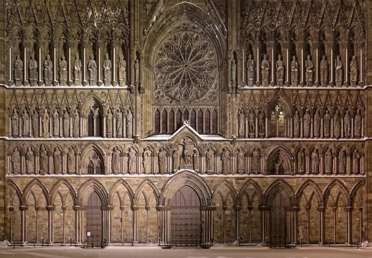 The west front of the Nidaros Cathedral (Nidarosdomen) in Trondheim, Norway.