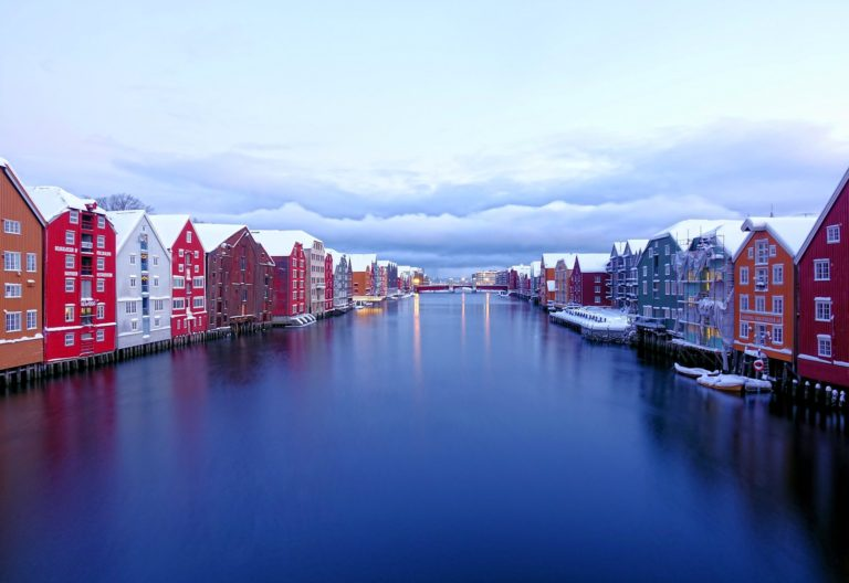 View of old trading houses along the river in Trondheim, Norway.