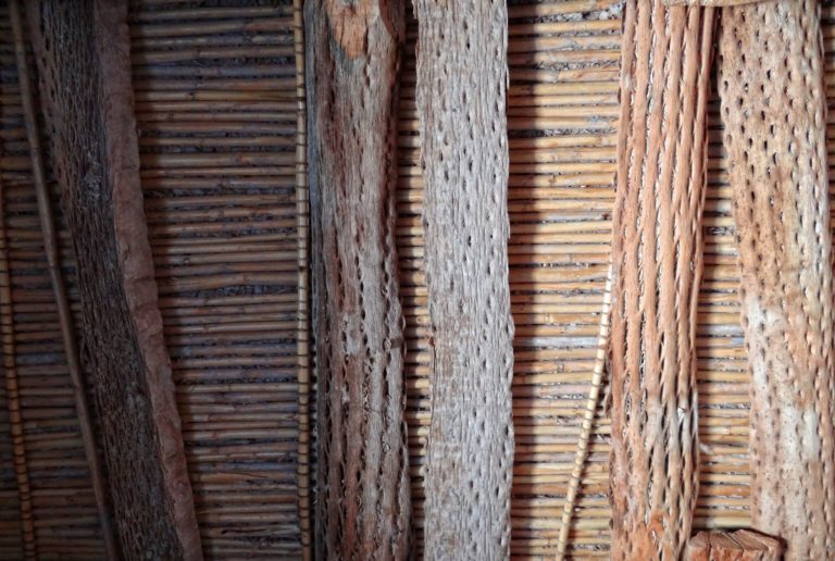 Planks made of cactus used to reconstruct Inca buildings in Tilcara, Argentina.