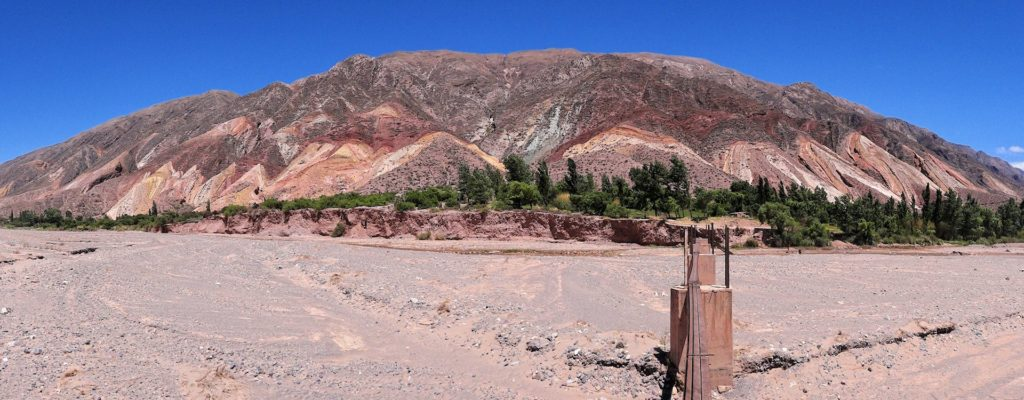 Panorama of the colored mountains seen from Maimara in Jujuy, Argentina.