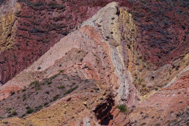 Amazing colors in the rocks of the Quebrada Humahuaca in Jujuy, Argentina.