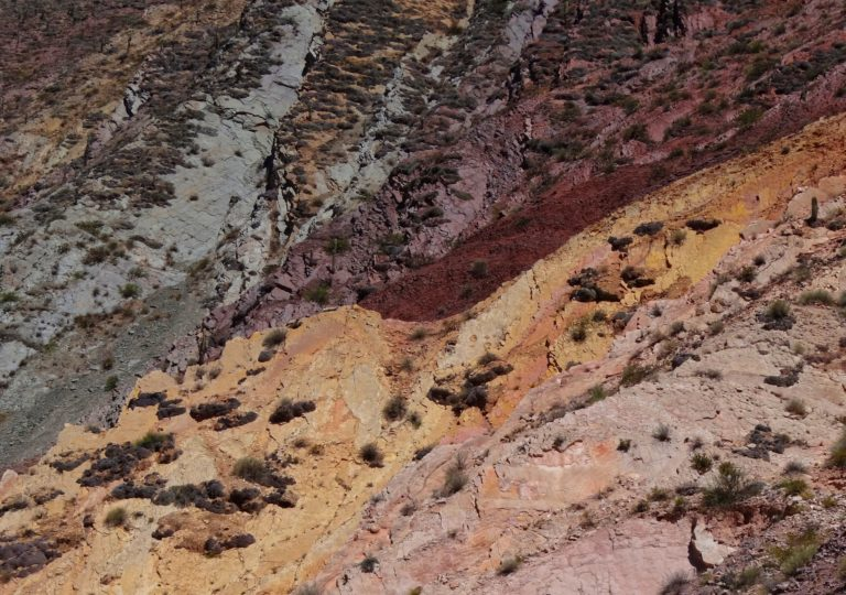 Layers upon layers of rock in different colors in Quebrada Humahuaca.