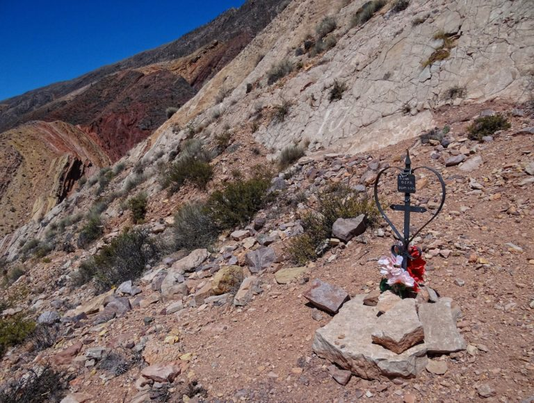 Simple memorial in the mountains above Maimares in Jujuy, Argentina.