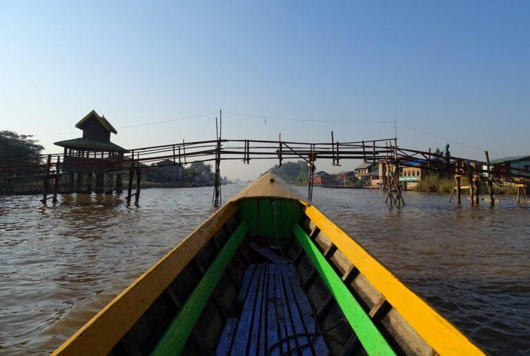 Photo of a basic bridge in rural Myanmar.