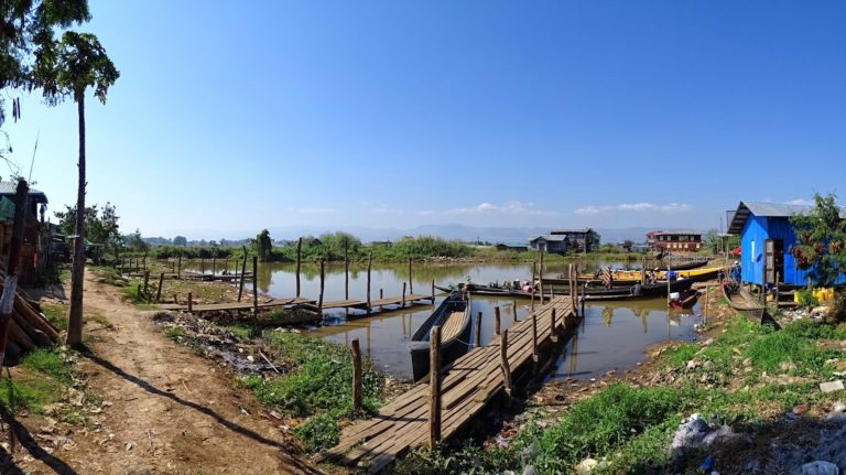 The parking lot at one of the villages of Inle Lake.
