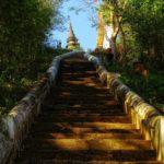 Stairs leading up to Wat Jom Phet north of Luang Prabang, Laos.