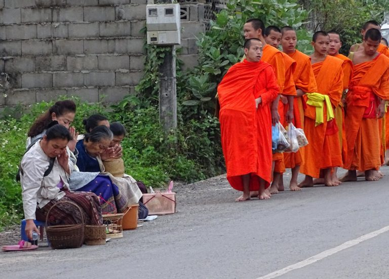 Every morning, the locals of Luang Prabang offer food to the monks from the many monasteries in the city.