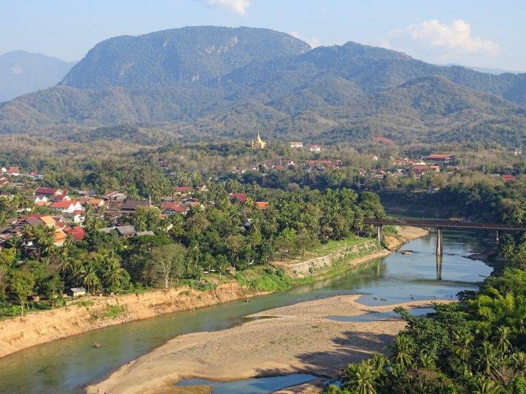 A section of the Nam Khan river that runs through Luang Prabang