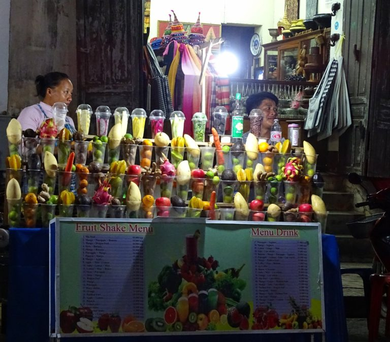 All kinds of juice in Luang Prabang, Laos