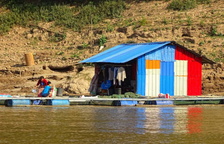 Basic home on the banks of the Mekong river